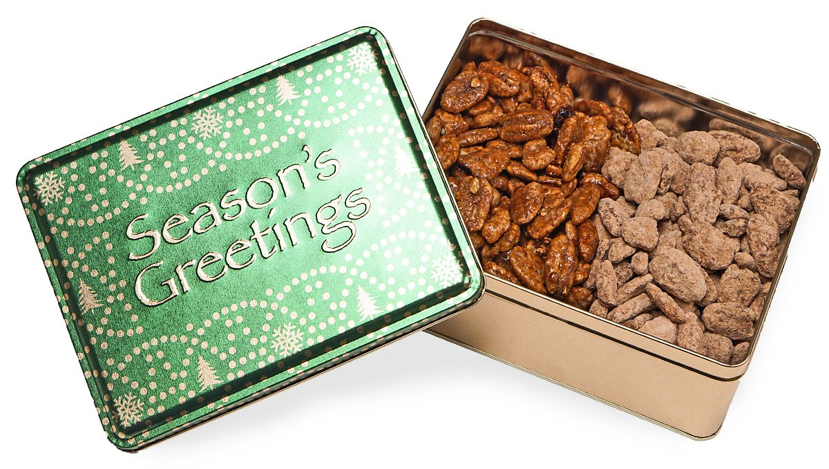 Sweet Pecan Holiday Sled Tin